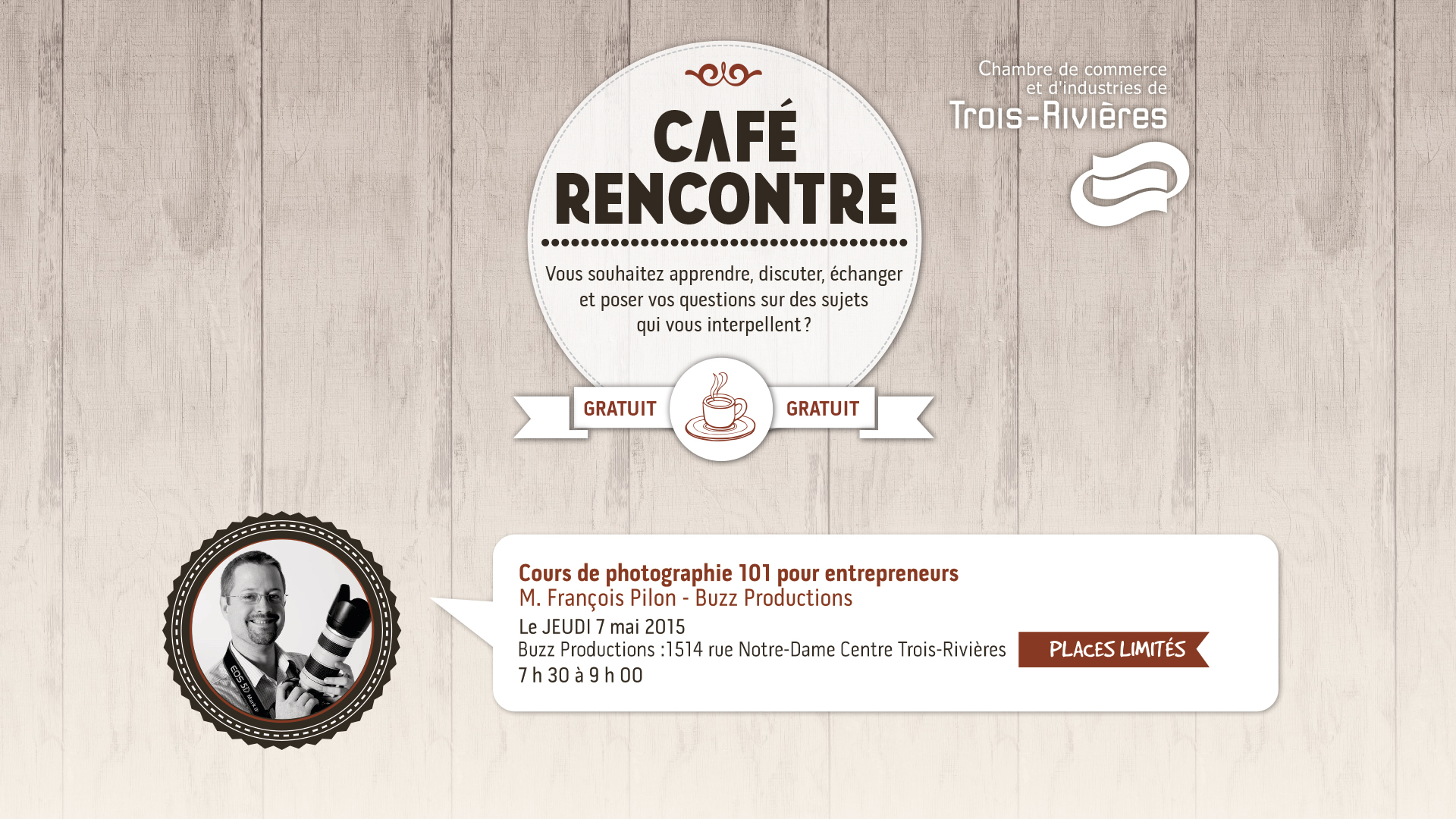 Cours de photographie 101 pour entrepreneurs chambre de for Chambre de commerce de trois rivieres